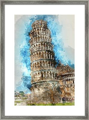 Leaning Tower Of Pisa In Italy Framed Print by Brandon Bourdages