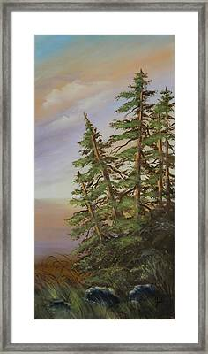 Framed Print featuring the painting Leaning Trees by Joni McPherson