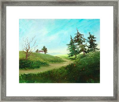 Leaning Trees Framed Print by Sally Seago