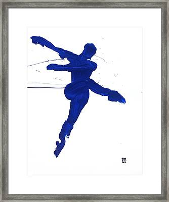 Framed Print featuring the painting Leap Brush Blue 1 by Shungaboy X