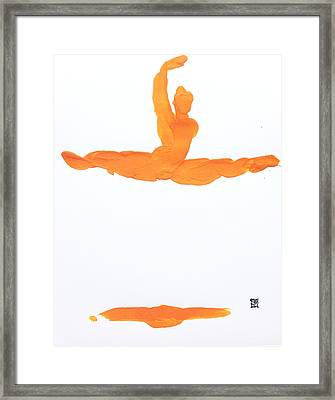 Framed Print featuring the painting Leap Brush Orange 1 by Shungaboy X