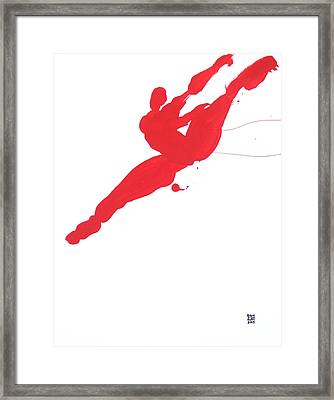 Framed Print featuring the painting Leap Brush Red 3 by Shungaboy X