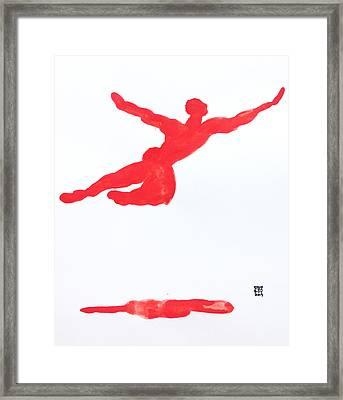 Leap Water Vermillion Framed Print