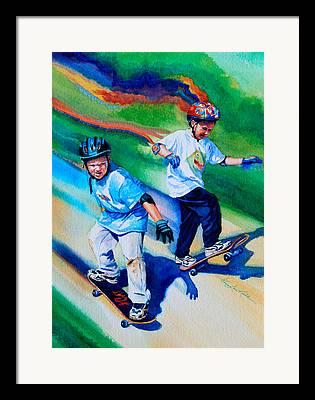 Boy On Skateboard Framed Prints