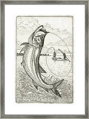 Framed Print featuring the drawing Leaping Tarpon by Charles Harden