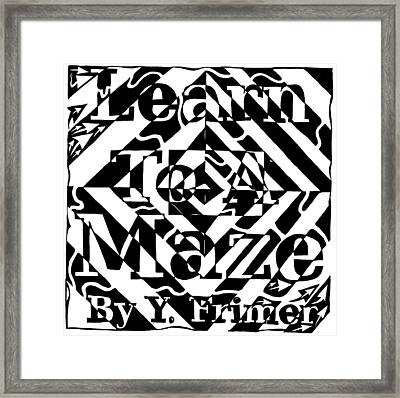 Learn To A Maze Book Cover 1 Framed Print by Yonatan Frimer Maze Artist