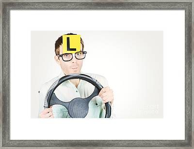 Learner Driver At Smart Driving School Framed Print