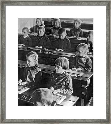 Learning Abc's In Berlin Framed Print by Underwood Archives