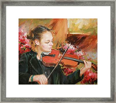 Learning The Violin Framed Print