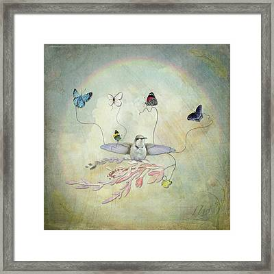 Framed Print featuring the digital art Learning To Fly by Sue Collura