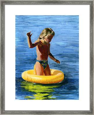 Learning To Swim Framed Print by Fiona Jack
