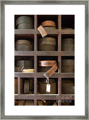 Framed Print featuring the photograph Leather Belt Storage At An Old Mill by Edward Fielding