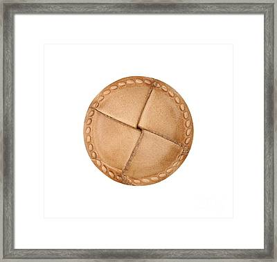 Leather Button Framed Print
