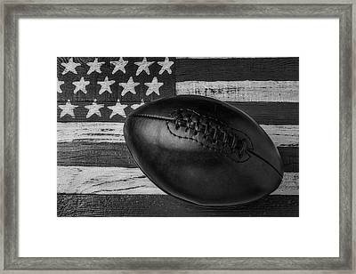 Leather Football On Flag Black And White Framed Print by Garry Gay