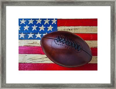 Leather Football On Flag Framed Print