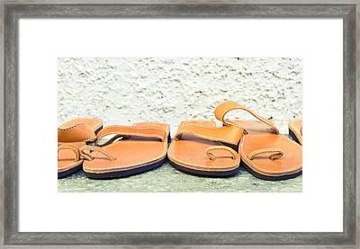 Leather Sandals Framed Print