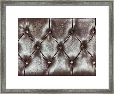 Leather Upholstery Background  Framed Print by Tom Gowanlock