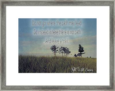 Leave A Trail Emerson Quote Framed Print