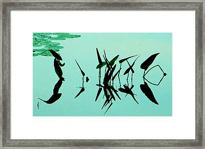 Leaves And Dragonflies 2 Framed Print