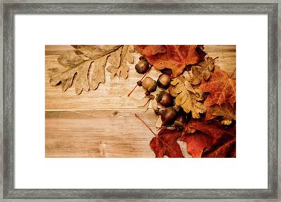 Framed Print featuring the photograph Leaves And Nuts 1 by Rebecca Cozart
