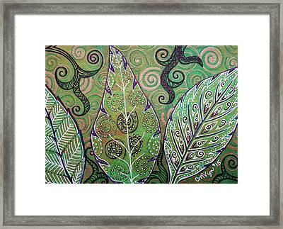 Leaves And Spirals Framed Print by Michelle Vyn
