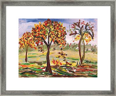 Leaves Are Falling Framed Print by Mary Carol Williams