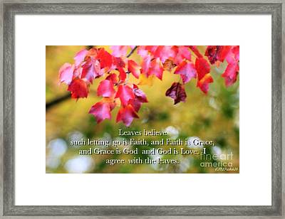 Leaves Believe Framed Print by MaryLee Parker