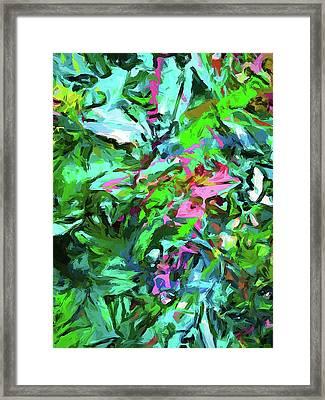 Leaves Buds Green Pink Framed Print