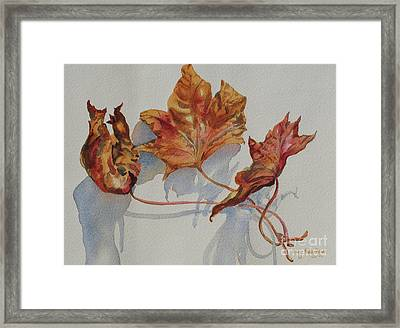 Framed Print featuring the painting Leaves Of Fall by Mary Haley-Rocks