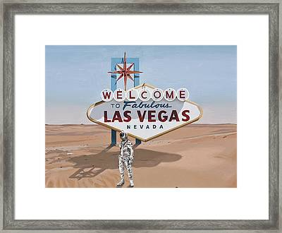 Framed Print featuring the painting Leaving Las Vegas by Scott Listfield