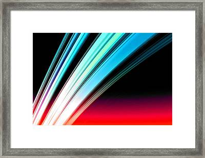 Leaving Saturn In Azure And Scarlet Framed Print