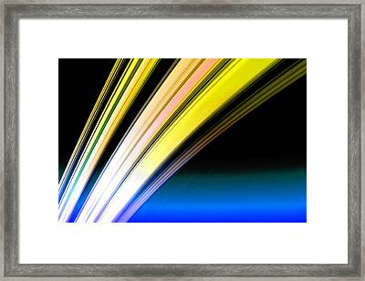 Leaving Saturn In Gold And Blue Framed Print