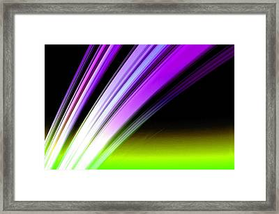 Leaving Saturn In Purple And Electric Green Framed Print