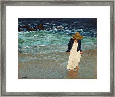Leaving The Beach Framed Print