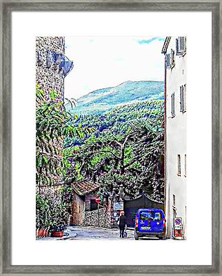 Leaving The Main Square Cetona Tuscany Framed Print