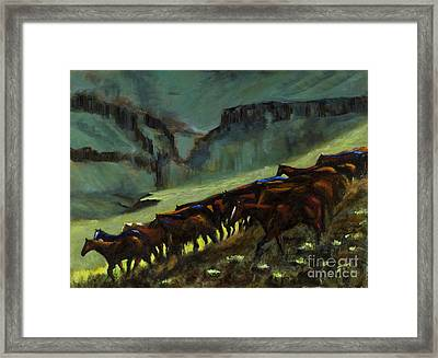 Leaving The Mesa Framed Print by Frances Marino