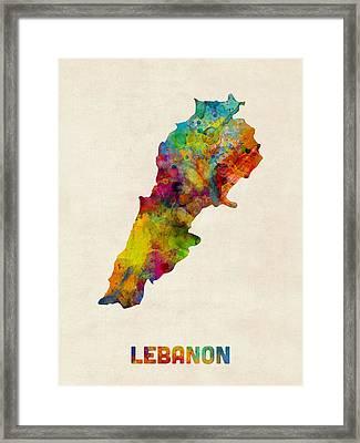 Lebanon Watercolor Map Framed Print by Michael Tompsett