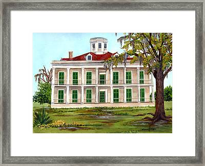 Lebeau Plantation Front View Framed Print by Elaine Hodges