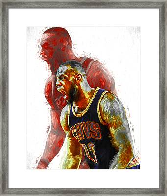Lebron James 23 1 Cleveland Cavs Digital Painting Framed Print by David Haskett
