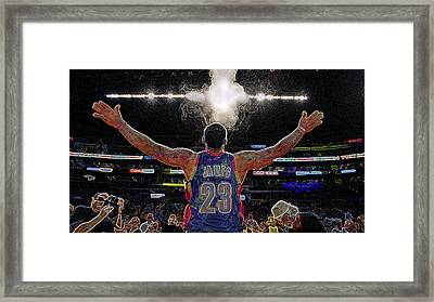 Lebron James Chalk Toss Basketball Art Landscape Painting Framed Print by Andres Ramos