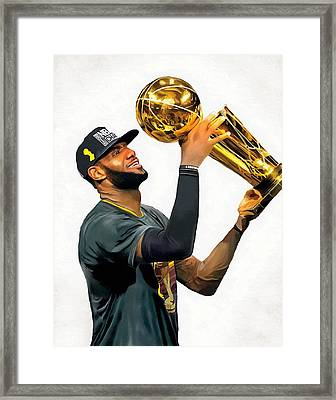 Lebron James Cleveland Cavaliers Champions Portrait Painting Framed Print by Andres Ramos