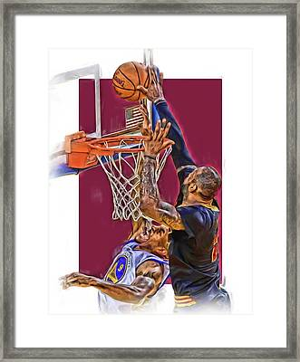 Lebron James Cleveland Cavaliers Oil Art Framed Print by Joe Hamilton