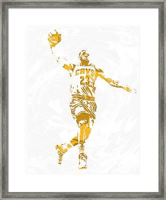 Lebron James Cleveland Cavaliers Pixel Art 12 Framed Print