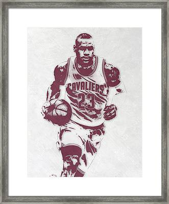Lebron James Cleveland Cavaliers Pixel Art 4 Framed Print by Joe Hamilton