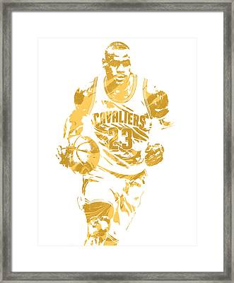 Lebron James Cleveland Cavaliers Pixel Art 7 Framed Print by Joe Hamilton
