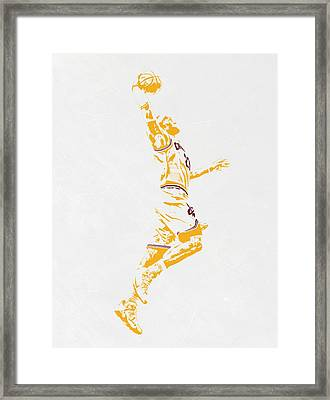 Lebron James Cleveland Cavaliers Pixel Art Framed Print by Joe Hamilton