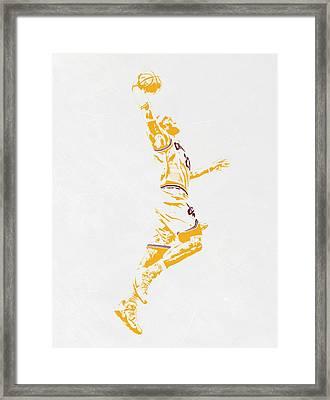 Lebron James Cleveland Cavaliers Pixel Art Framed Print