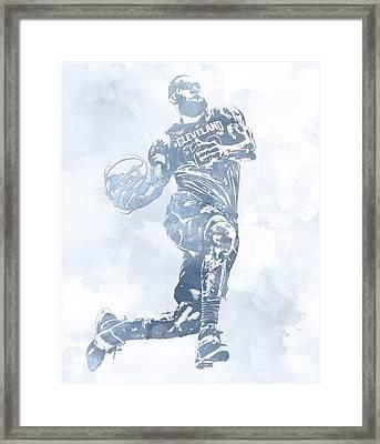 Lebron James Cleveland Cavaliers Water Color Pixel Art 11 Framed Print