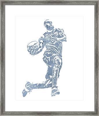 Lebron James Cleveland Cavaliers Water Color Pixel Art 20 Framed Print