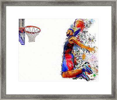 Lebron James Dunk In Color Painting Framed Print by Andres Ramos